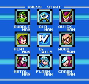 megaman select screen