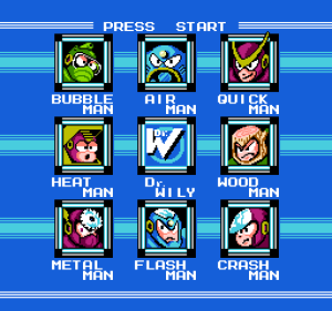 megaman select screen